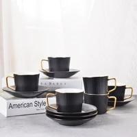 originality lovers coffee cup saucers suit black white ceramics milk breakfast mug office stripe black tea scented tea teacup