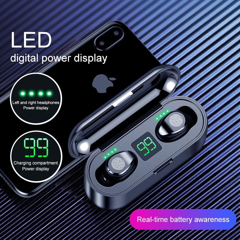 Auriculares inalámbricos Bluetooth 5,0 TWS con micrófono 2000mAh banco de energía para iPhone Huawei Samsung F9 auriculares inalámbricos impermeables