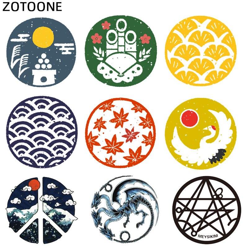 ZOTOONE Kreis Malerei Patches Eisen auf Patch für Kleidung Japanische Aufkleber für Kinder Wärme Transfers Anwendungen DIY Appliques S