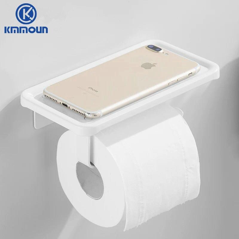 أبيض/أسود حامل ورقي الحمام الأجهزة الهاتف رف المرحاض الجرف الفضاء ورق ألومنيوم رف