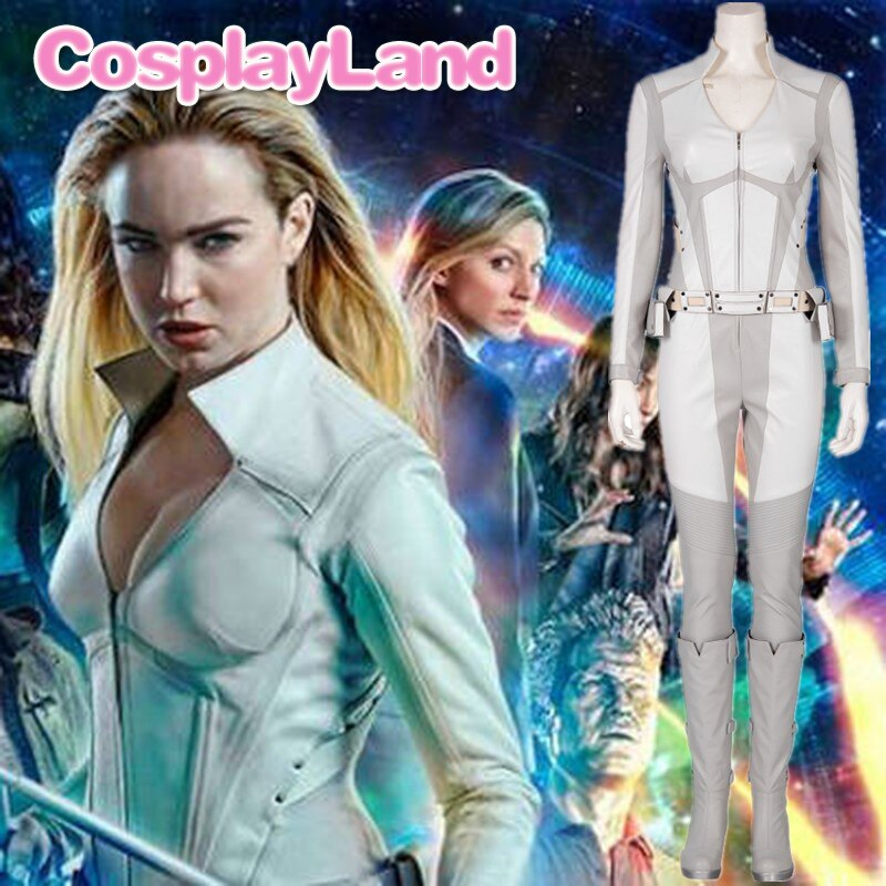 Legends of Tomorrow Sara Lance Cosplay White Canary Costume Halloween Costumes for Adult Women Superhero Outfit Jumpsuit