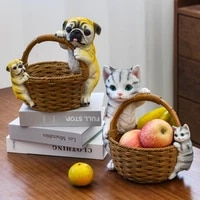 creative home key storage ornaments cat resin crafts home residence counter storage decorations