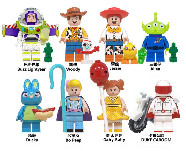 Brinquedos história 4 figuras woody forky buzz lightyear gaby corações vermelhos alienígenas jessie bo peep ducky caboom blocos de construção amigos tijolo