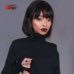 DLME Heat Resistant Synthetic None-Lace Wig Black Hair Glueless Short straight Bob Wigs Cosplay Wigs With Bangs