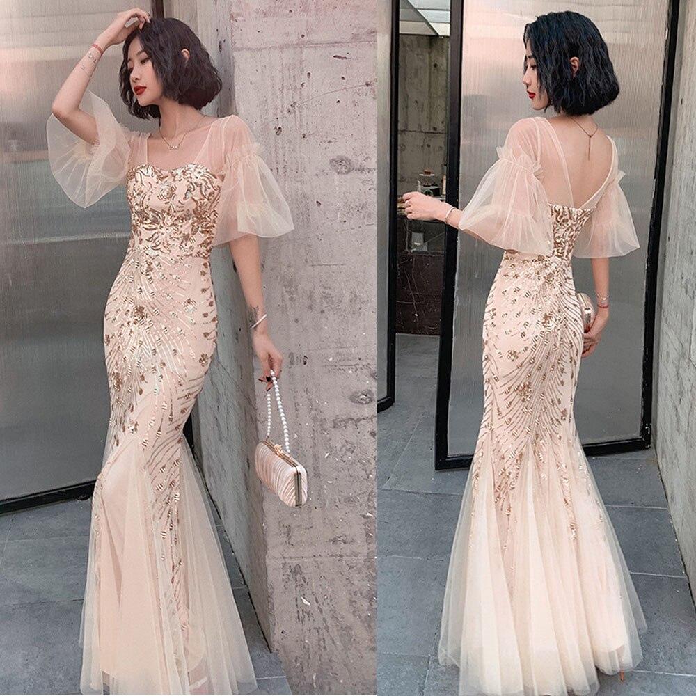 تول واسع الأكمام مساء فستان حفلة أنيقة حورية البحر التطريز فستان سهرة مناسبة رسمية للنساء فستان رداء طويل