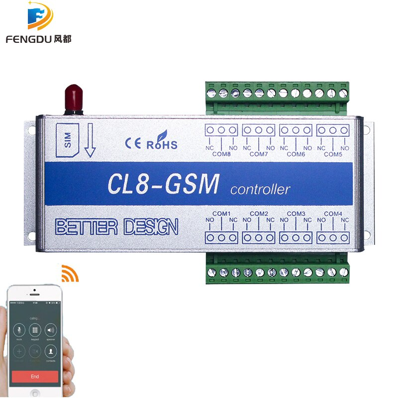 GSM Switch SMS controller 4 relays output GSM Garage Door CL8-GSM Great for control of home electrical devices
