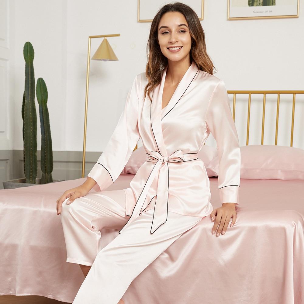 19 Momme Pure Mulberry Silk Robe Pajama Set Sleep Ladies Sleepwear Comfy Soft Full Length with Belt