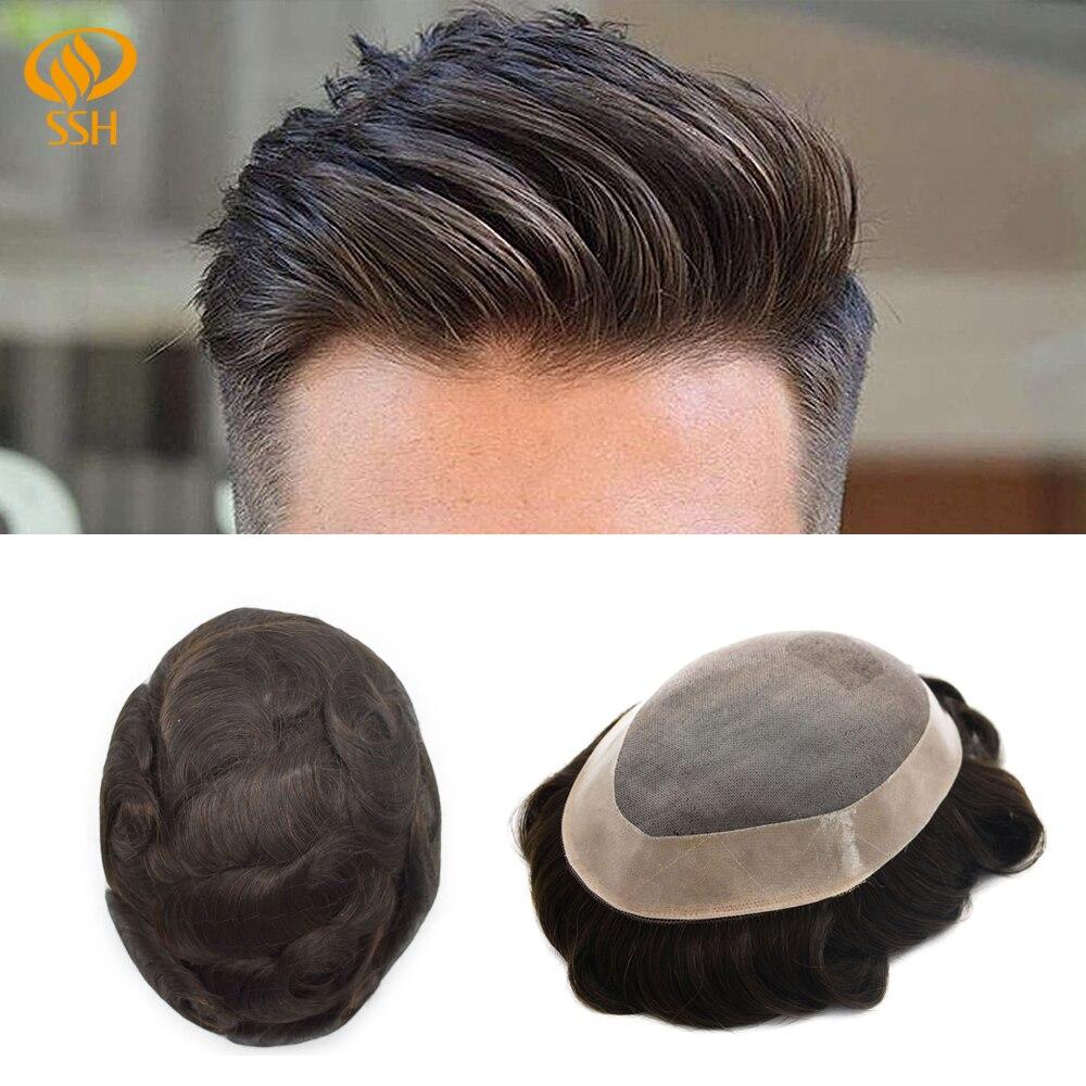SSH Mono de encaje Frontal de los hombres de reemplazo de pelo transpirable tupé para hombre peluca para hombre Durable postizos MONO y NPU Remy Sistema de cabello humano