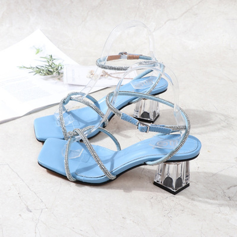 Sexy Square Toe Narrow Band Sandals Women High Heel Summer Shoes Ankle Strap Real Leather Simple San