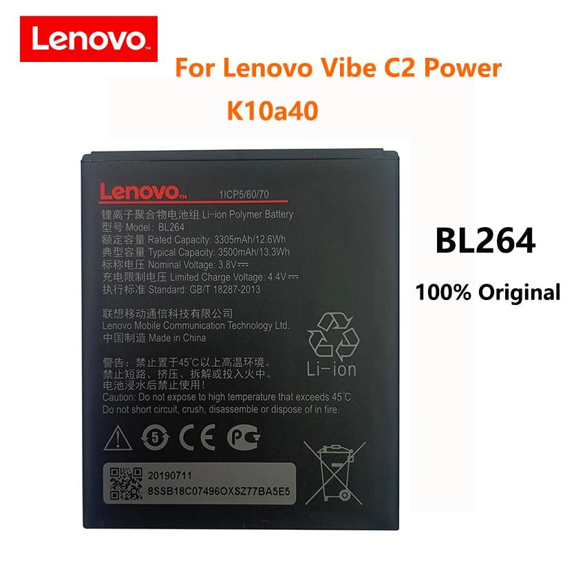 100% Original 3500mAh BL264 Battery For Lenovo Vibe C2 Power K10a40 K10 a40 S120 161203 Mobile Phone