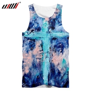 UJWI Man Latest Popular Color Cross Sleeveless Top 3D Full Printing Oil Painting Vest Plus Size Tank Top Recommend Dropship 5XL