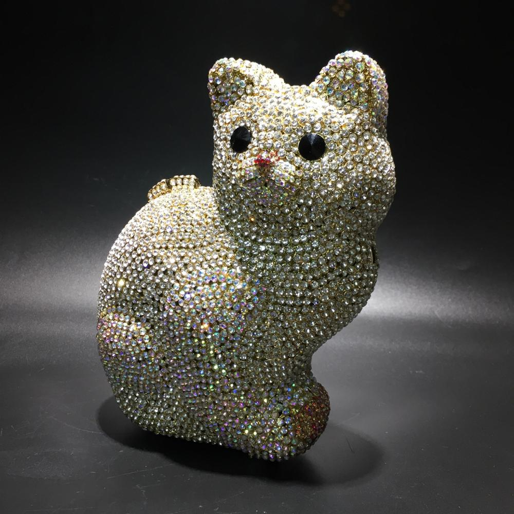 XIYUAN-حقيبة يد نسائية فاخرة على شكل قطة ، حقيبة يد فاخرة على شكل قطة ، حقيبة سهرة بإطار من حجر الراين ، حقيبة شبكية صغيرة للنساء