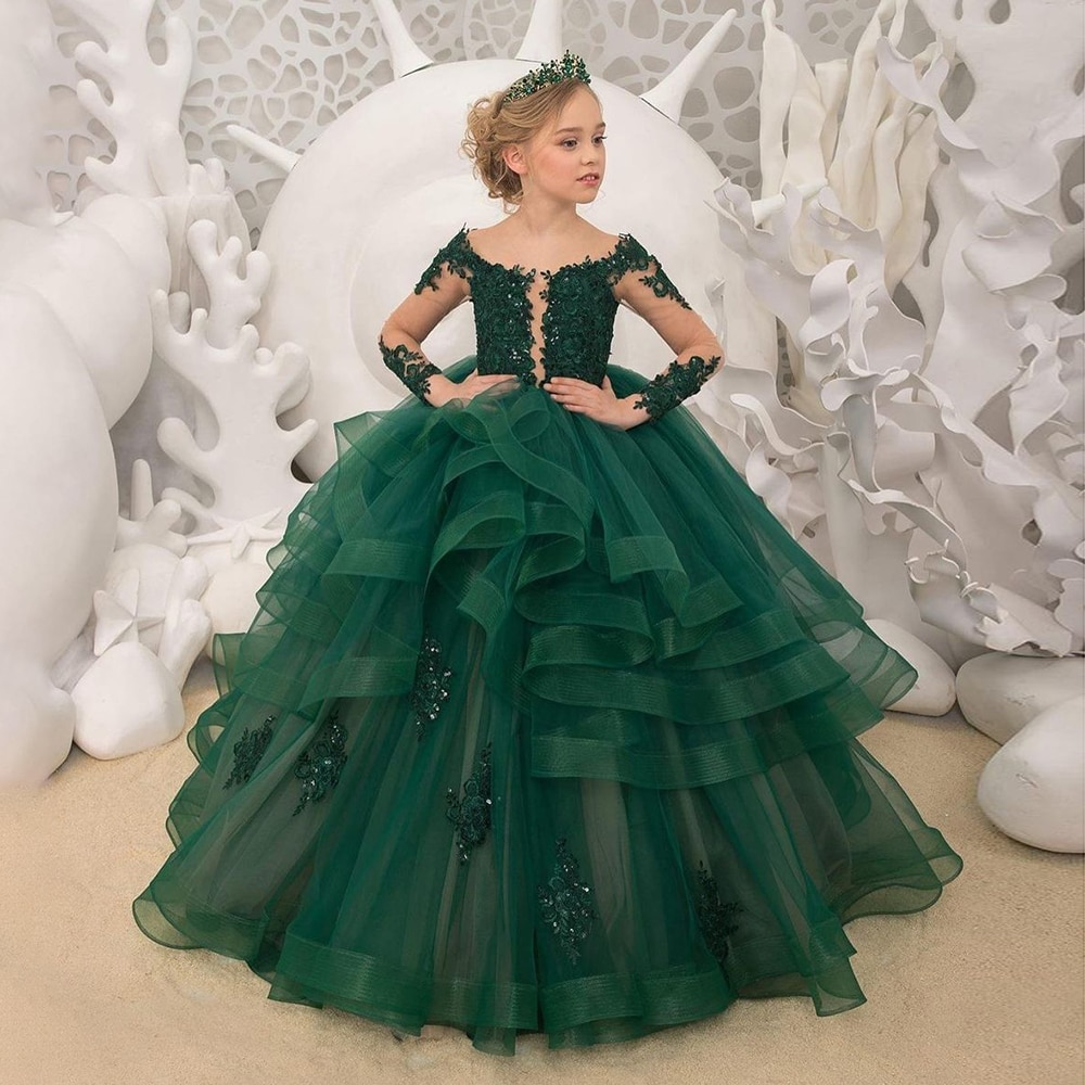 champagne kids girl formal party dress long tulle communion princess gowns flower girl dresses for wedding birthday Puffy Princess Dresses Tulle First Communion Dresses Pearls Belt Flower Girl Dress Girl Wedding Party Dress Baby Birthday Dress