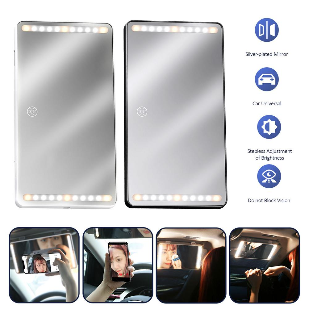 Car Sun Visor Cosmetic Mirror With LED Light To Fill Light Beauty Mirror Car Decoration Products Car