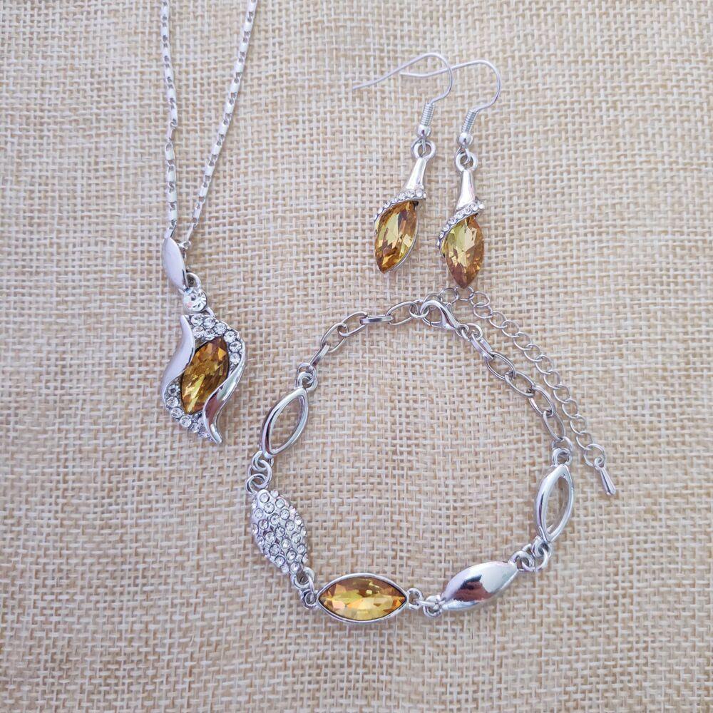 Joyería fina de Plata de Ley 925 adecuada para mujeres, Ángeles de boda, collar amarillo de hadas, pendientes, conjunto de pulsera yw036