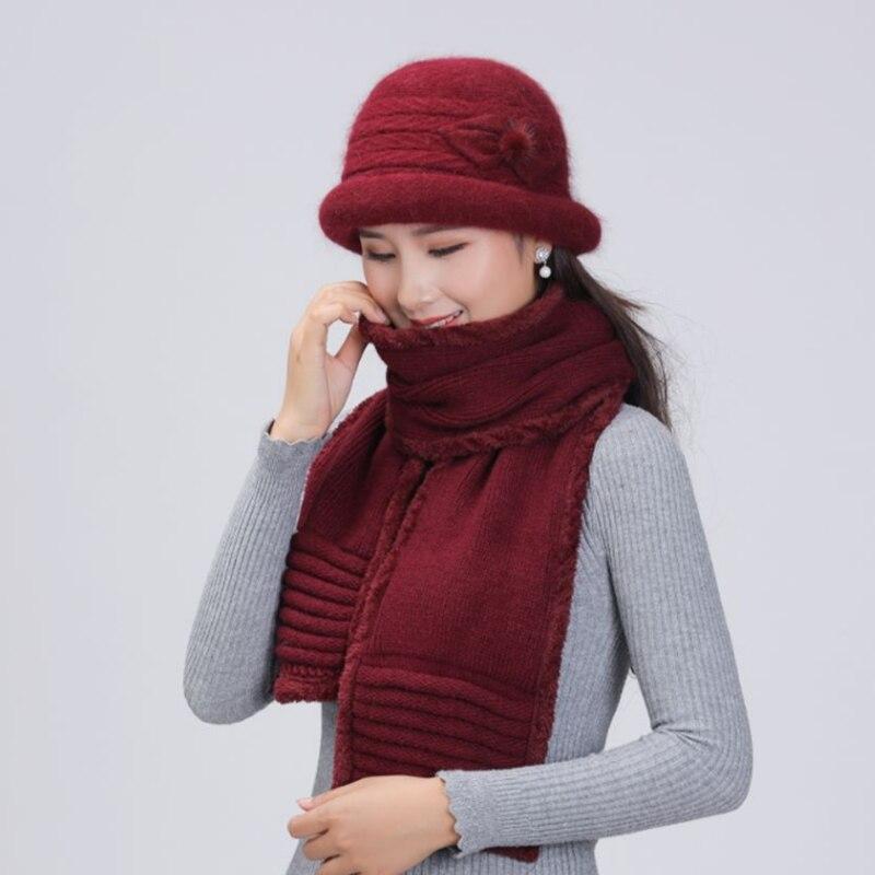 Autumn&Winter Women's Hats Scarf Knitted Rabbit Fur Skullies Design Fashionable Casual Cap Gorros Warm Mother Hat Set