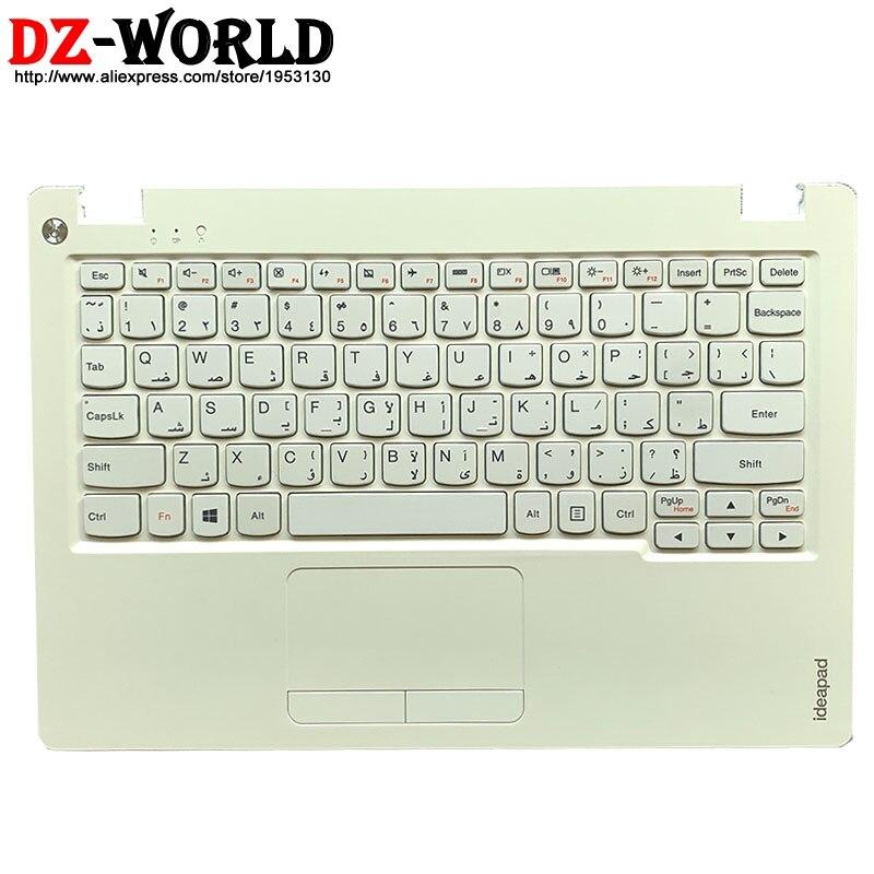 Novo/orig escudo c capa palmrest branco caso superior com teclado árabe touchpad para lenovo ideapad 100s-11iby portátil 5cb0k48396