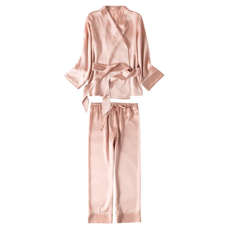 Silk pajamas set mulberry silk solid color belt waist top cardigan high waist straight wide-legged trousers two-piece set