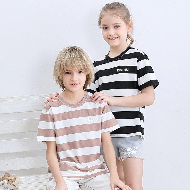 Moda roupas para crianças grandes meninos meninas crianças t-shirts listrado respirável topos verão algodão modal t esportes casuais quente