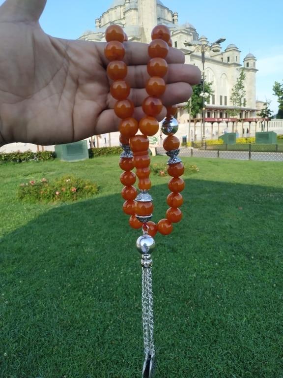 Ottoman Faturan German Amber Sandalous Misbaha Prayer Beads Islamic Gift Tasbih Tasbeeh Tasbeh Rosary Tasbih # 37A