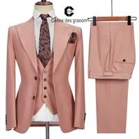 cenne des graoom men suits costume homme tailor made blazers vest pants 3pcs set wedding dress groom formal business work wear