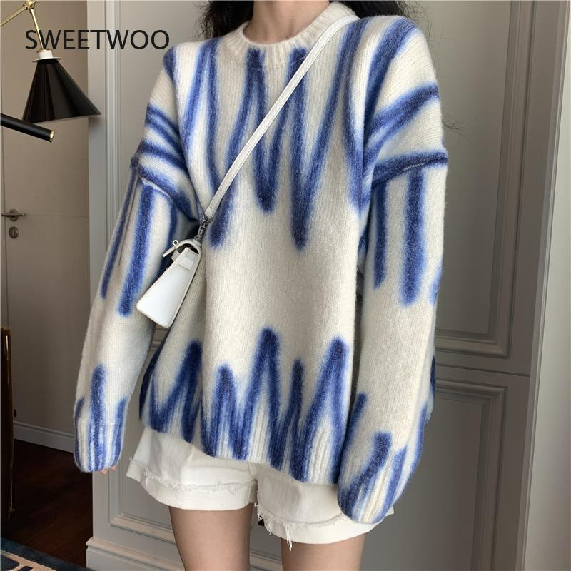 Фото - Lazy Style Sweater Women's Fall/winter 2021 New Style Hedging Korean Fan Loose All-Match Outer Knit Sweater Coat fall winter sweater men thickened korean fashion personality sweater lazy pullover sweater coat
