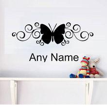 Jolie autocollant Mural avec nom papillon   Autocollant Mural personnalisé pour décoration de chambre à coucher, papier peint pour chambre denfants et pépinière, décoration murale pour bricolage