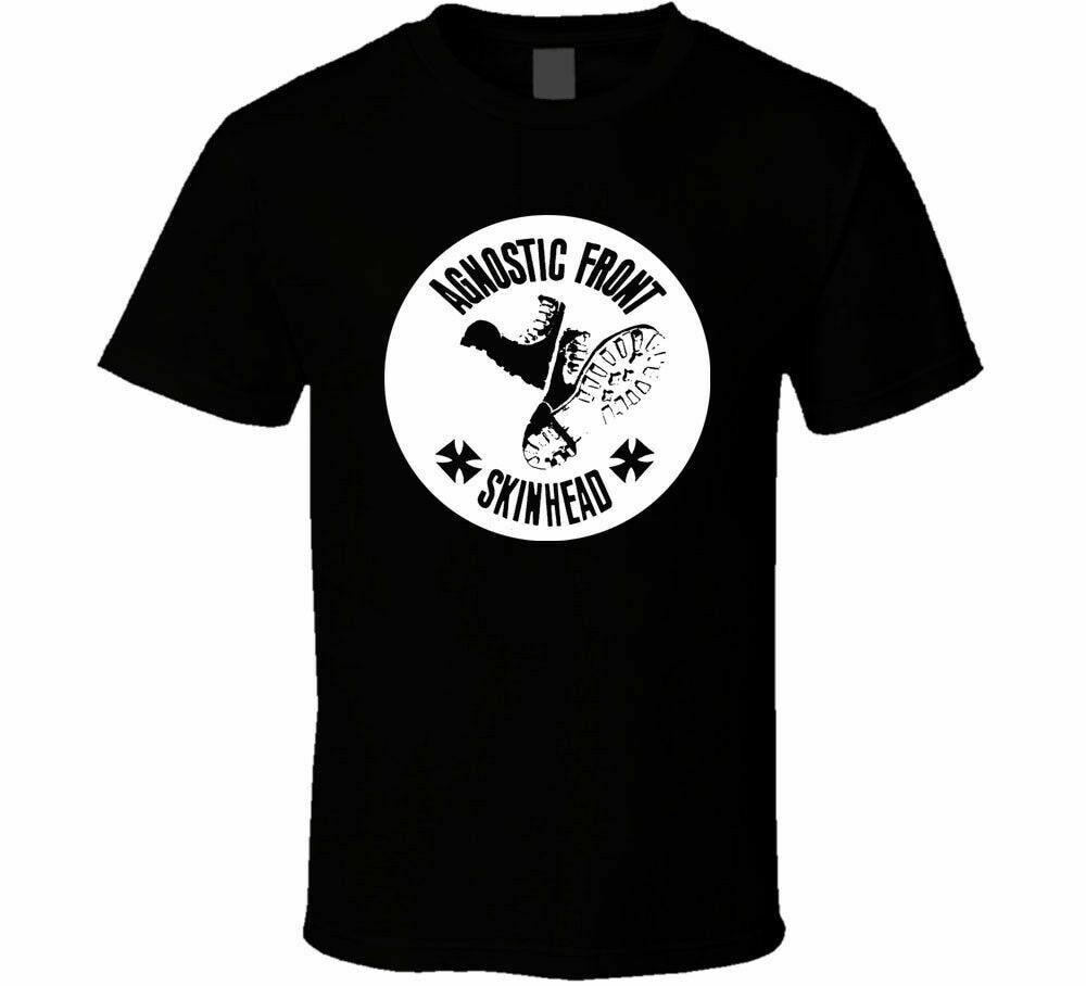 Agnostic frente skinhead design logotipo camisa preto branco