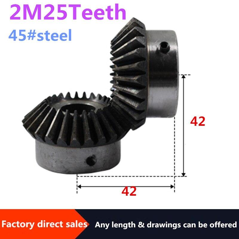 2 uds engranaje cónico 2M 25 dientes agujero interior 10/12/14/15/16/17/18/19/20/22mm engranaje 90 grados Ángulo de medición tornillo para engranajes de acero M5