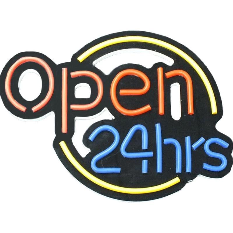 Neon Light Open 24 Hours +Магазин fortune cat Signal Lamp Custom Sign LED +Bar Store Club Restaurant +Recreation City Wall