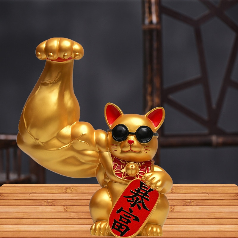 Creative Muscle Arm Lucky Cat Doll Small Sculpture Home Decoration Accessories Indoor Feng Shui Animal Crafts Office Room Shop