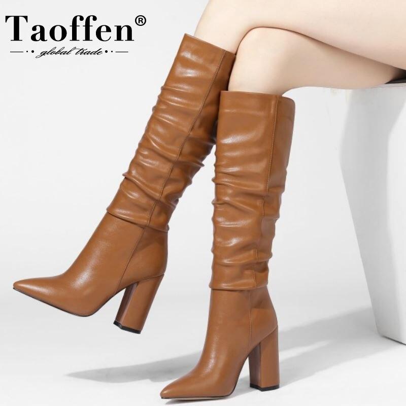 Taoffen, botas de tacón alto para mujer, zapatos de invierno de moda para mujer, bota larga cálida plegable, calzado de señora hasta la rodilla para oficina, talla 34-43