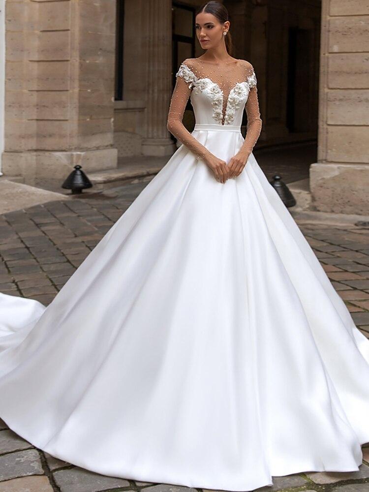 Get Romantic Luxury Wedding Dress Beaded Applique Belt Round Neck Cap Sleeve Button New A-Shaped Princess Bridal Dress Custom