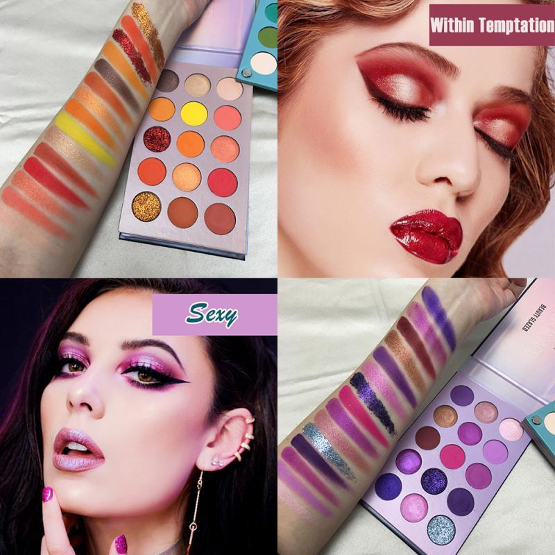 Paleta de sombras de ojos de maquillaje, cepillos de maquillaje, 60 colores brillantes, paleta de sombras de ojos pigmentadas, paleta de maquillaje, Cosméticos de maquillaje TSLM1
