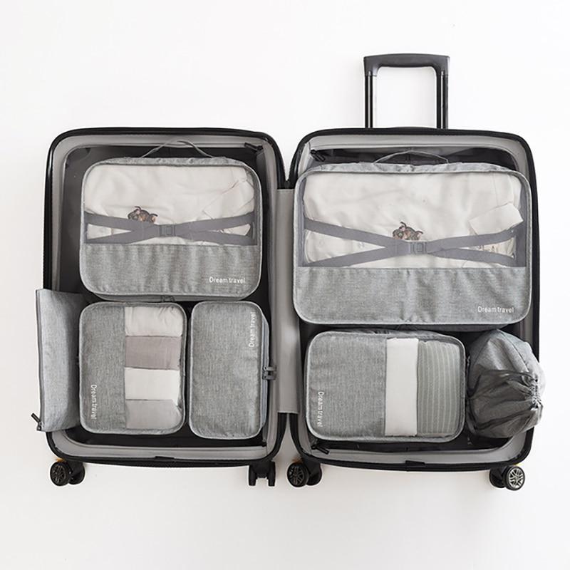 7 Uds. Bolsa de almacenamiento de viaje, organizador de equipaje, bolsas impermeables, ropa interior, organizador de zapatos, bolsa de viaje, almacenamiento portátil