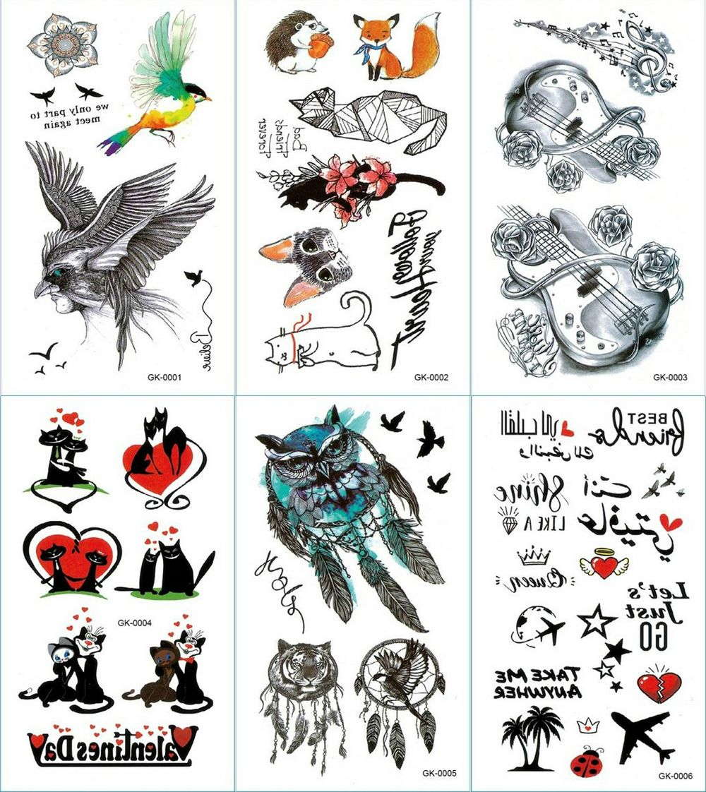 Dream Catcher Valentine's Day Temporary Tattoo Sticker Guitar Tattoos Sika Deer and Hedgehog Body Art Arm Waterproof Fake Tatoo