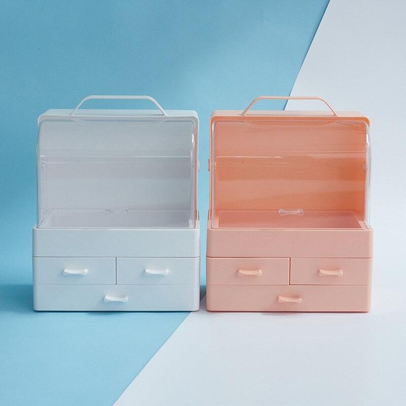 Concha transparente 3 cajón para tocador Mesa Redonda soporte de maquillaje caja de almacenamiento para lápiz labial organizador cosmético de la joyería