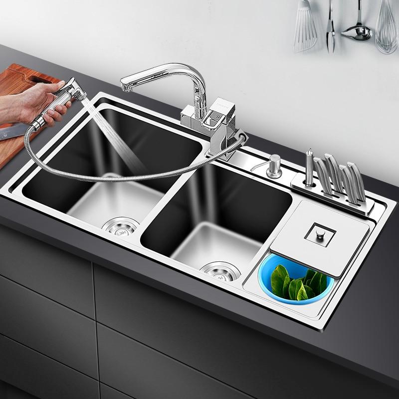 CKWS بالوعة المطبخ وعاء مزدوج فوق عداد أو udermount المصارف 304 الفولاذ المقاوم للصدأ 1.2 مللي متر سماكة بالوعة المطبخ مع حاوية القمامة