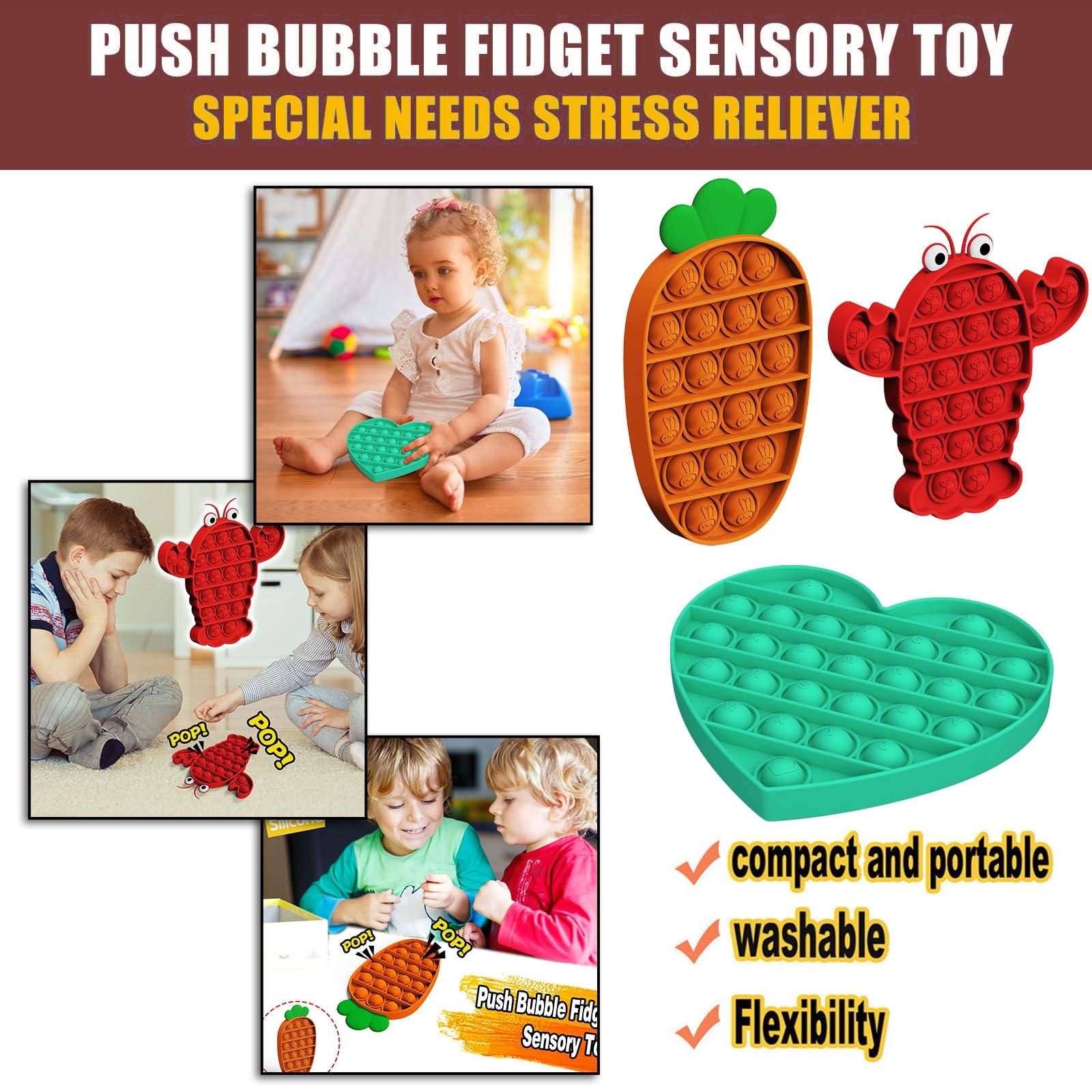 Adult Kids Push Pops Bubble Fidget Antistress Toys Squishy Sensory Toy Autism Special Needs Stress Reliever Set Aнтистресс 5* enlarge