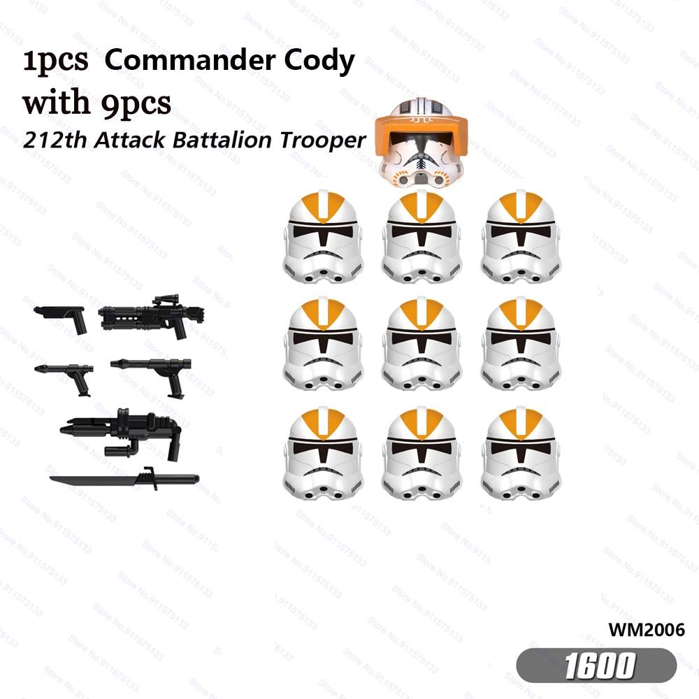 10 шт. клон Командир Коди с 212th атаки батальон Штурмовик строительные блоки кирпичи Звездные фигурки войны игрушки Детский подарок