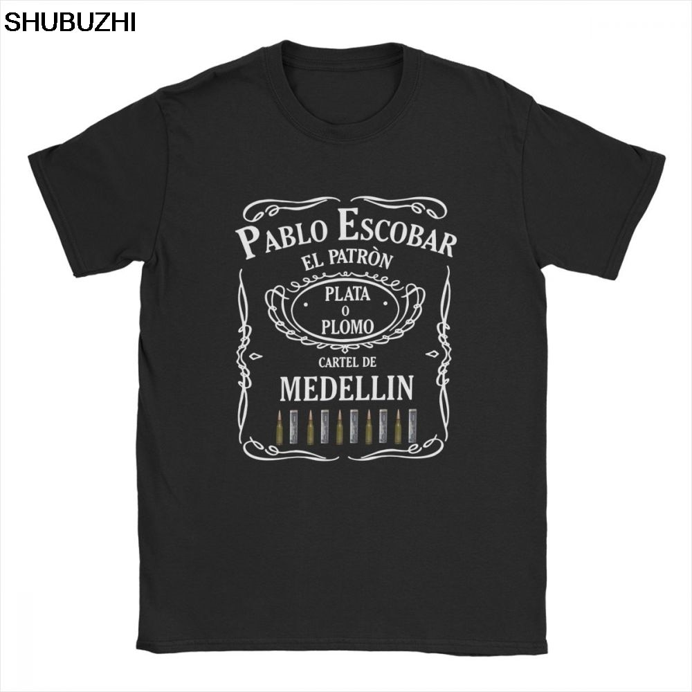 Men Pablo Escobar El Patron T-Shirts Humor O Neck Short Sleeve Tops 100% Cotton Tees Plus Size T Shirts