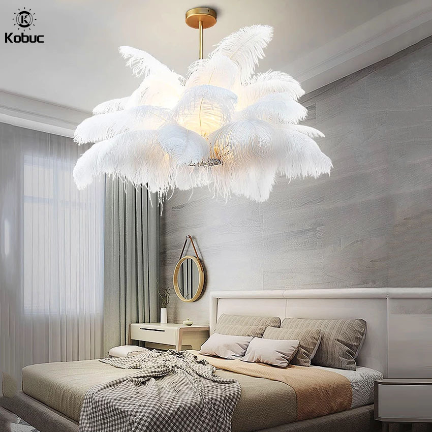 Kobuc Nordic Ostrich Feather LED Pendant Lights Modern Decor Feather Pendant Lamp Dia 80cm Bedroom Living Room Lamp Indoor Light nordic ld pendant lights natural ostrich feather loft led pendant lamp bedroom living room restaurant lighting deco hanging lamp