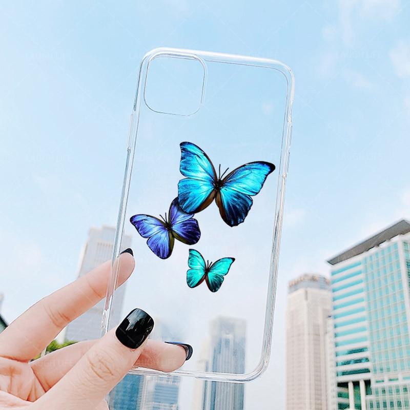 Nova limpar monarca borboleta caso de telefone para iphone x xs max xr 11 pro se 2020 8 76 s plus ins premium macio fundas capa coque