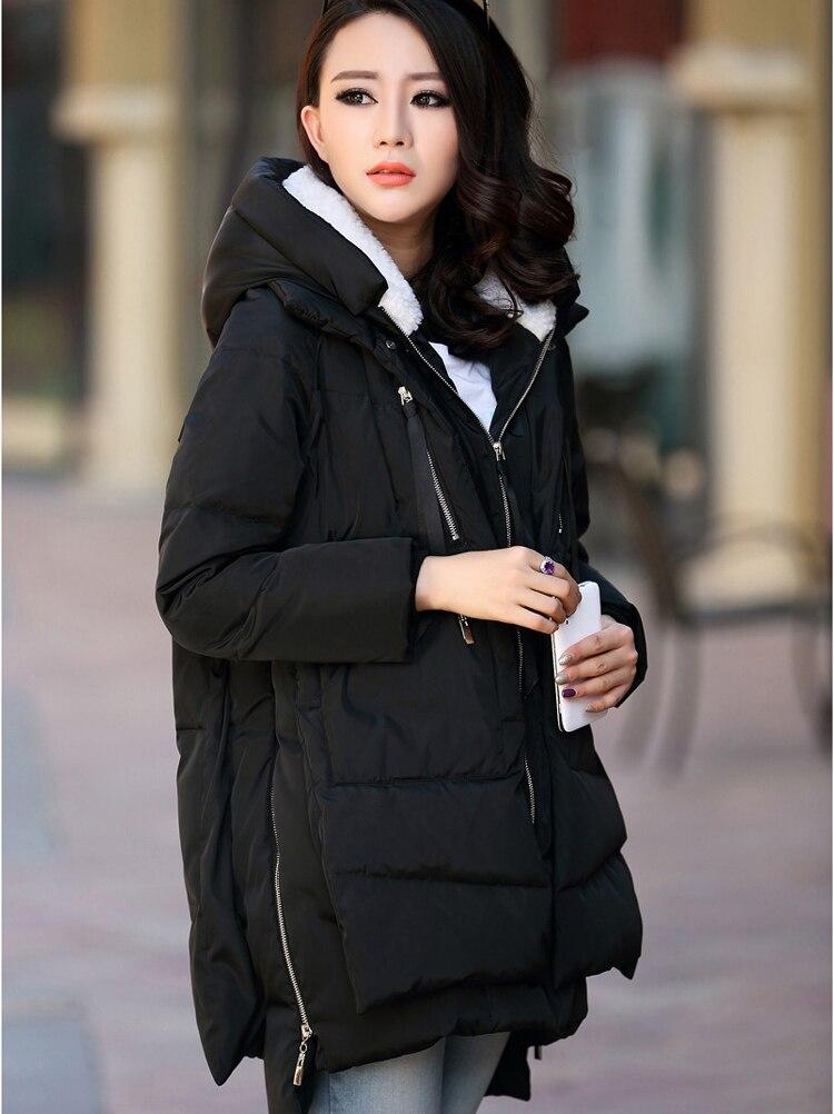 2021 Korea Winter Fashion Woman Duck Down Coat & Jacket with a Hood Thicken Warm Parka Khaki Plus Size XL Cheap Price