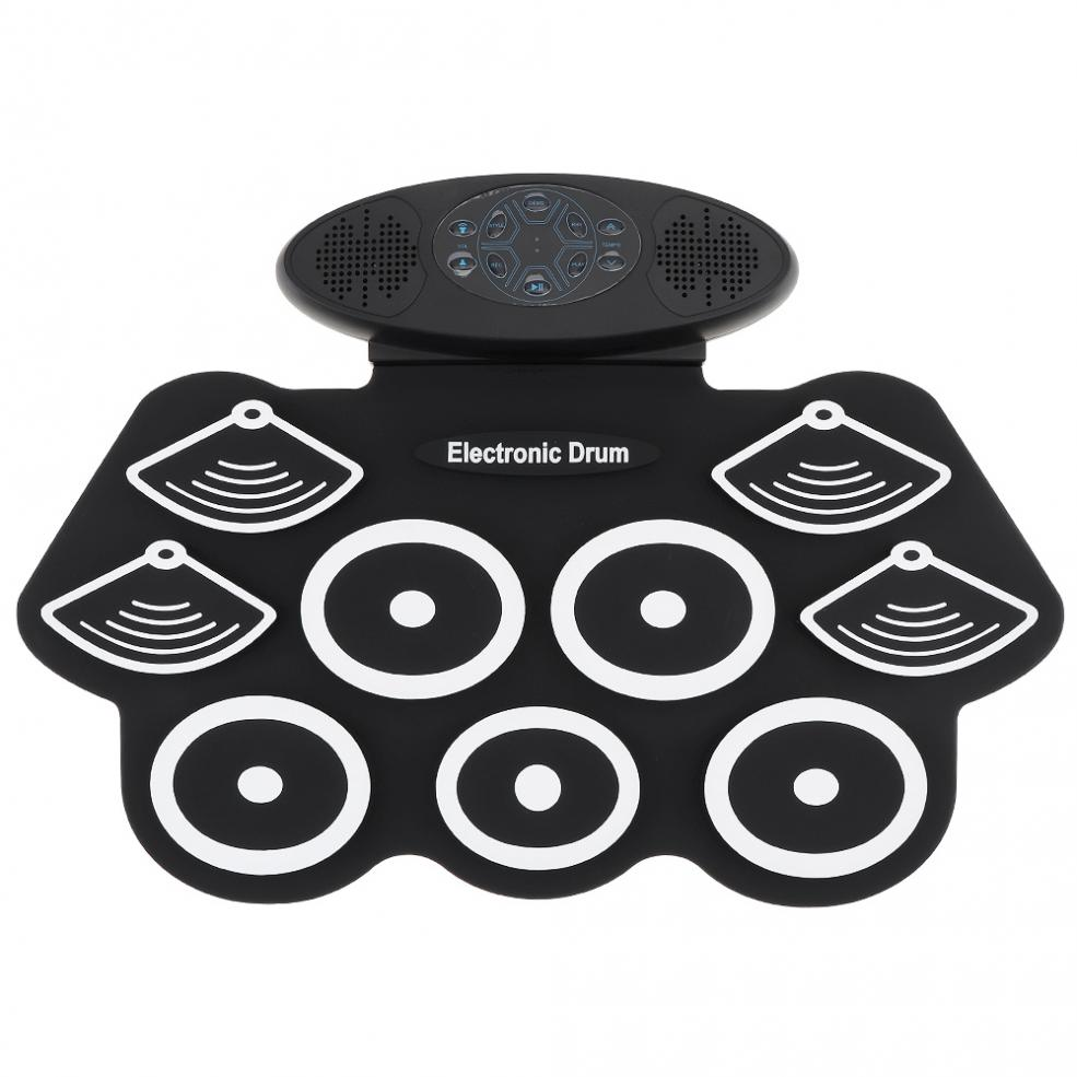 9 Pads Electronic Roll up Drum Thicken Silicone Double Speakers Stereo Electric Drum Kits with Drumsticks and Sustain Pedal enlarge