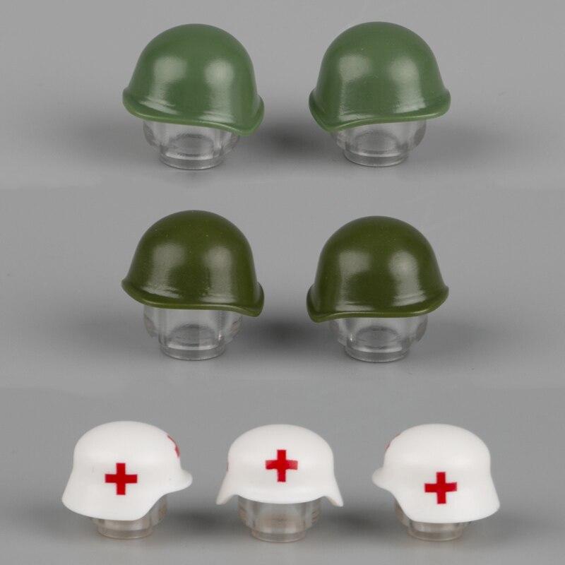 WW2, casco médico militar alemán, accesorios de construcción de bloques, figuras de soldados soviéticos del ejército ruso, piezas de armas, juguetes de ladrillos