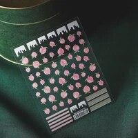 peach design nail art sticker thin transparent adhesive cute peach fruit decal diy nail art decoration accessories