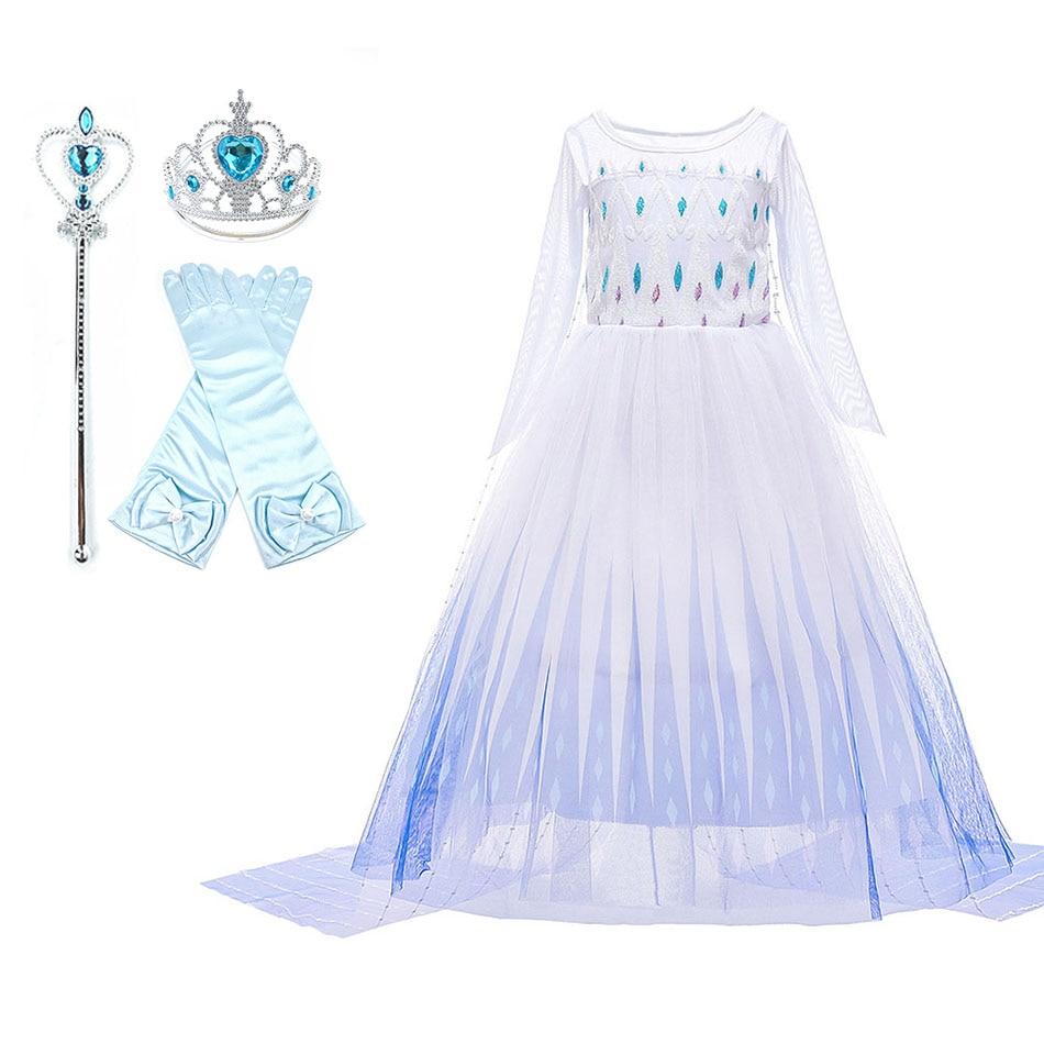 Children New Elsa White Dress Carnival Princess Costume Girls Frozen 2 Fancy Outfit Clothes Girl Birthday Party Gown Dress 2021