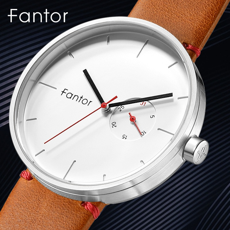 Fantor-ساعة كوارتز يابانية فاخرة للرجال ، ساعة يد جلدية رفيعة وبسيطة ، كاجوال