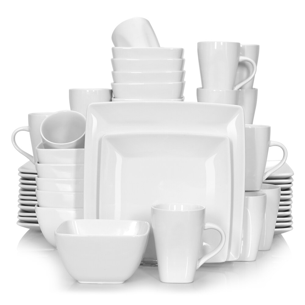 Vancasso SOHO 16/32/48-Piece White Ceramic Porcelain Square Dinnerware Set with Dinner Plate,Dessert Plate,Bowl,240ml Mug Set